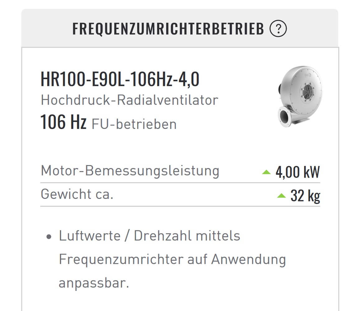 FANFINDER Frequenzumrichtebetrieb